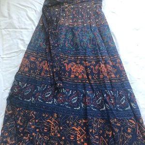 Boho Gypsy Wrap Maxi Skirt